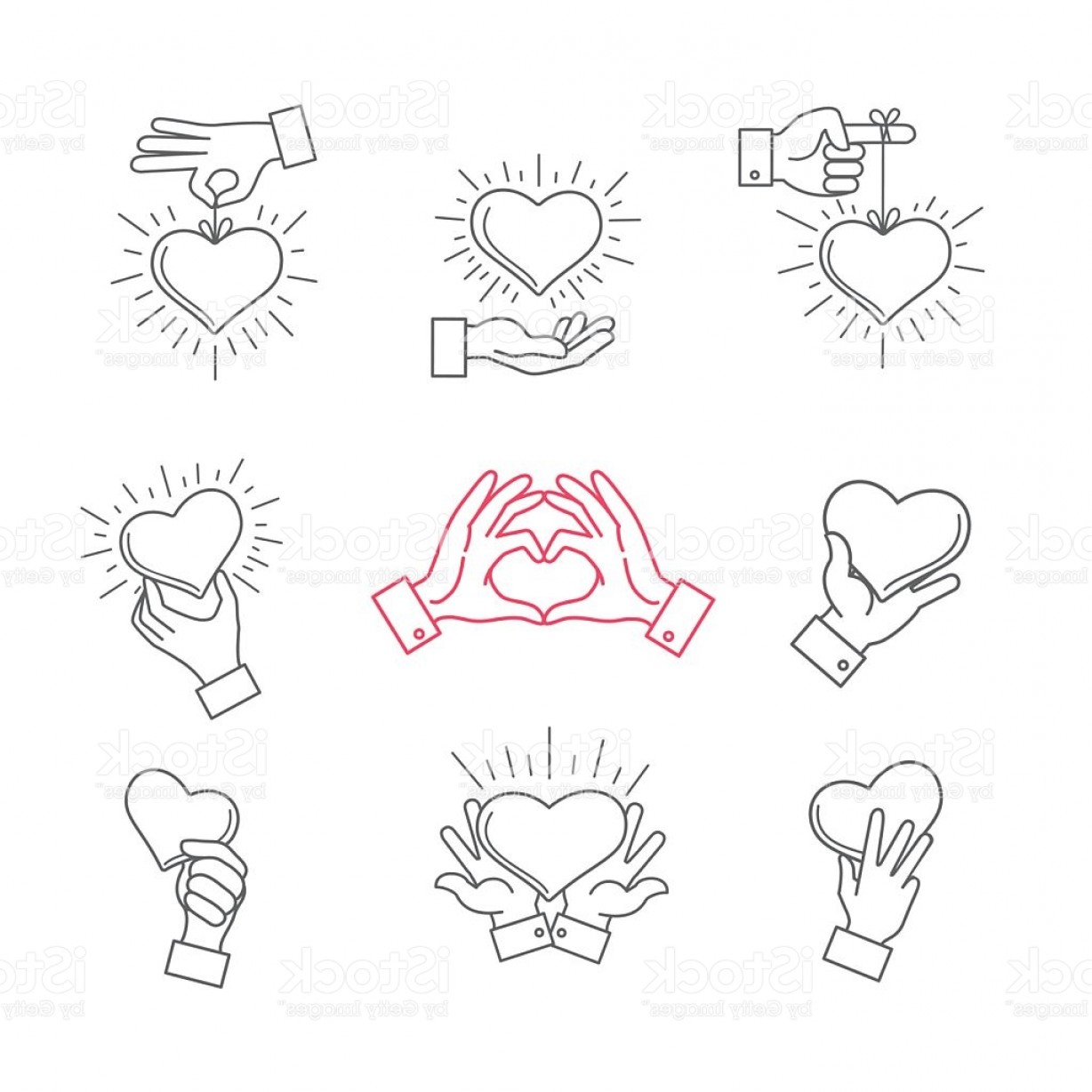 Sign Shapes Vector Art: Lined Hand Love Signs Vector Hands Making Heart Shape Gm