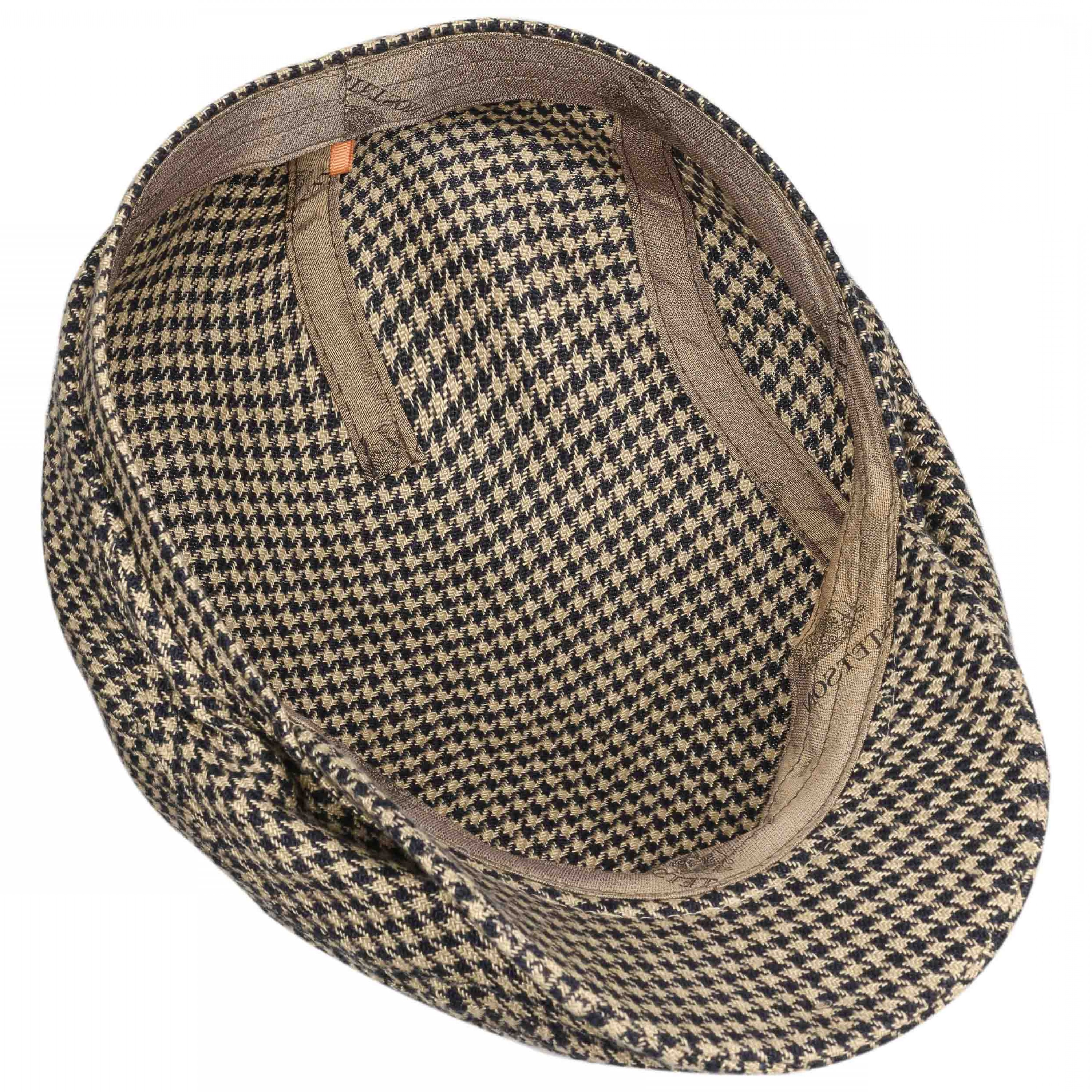 Houndstooth Hats Vector: Linen Houndstooth Flat Cap By Stetson