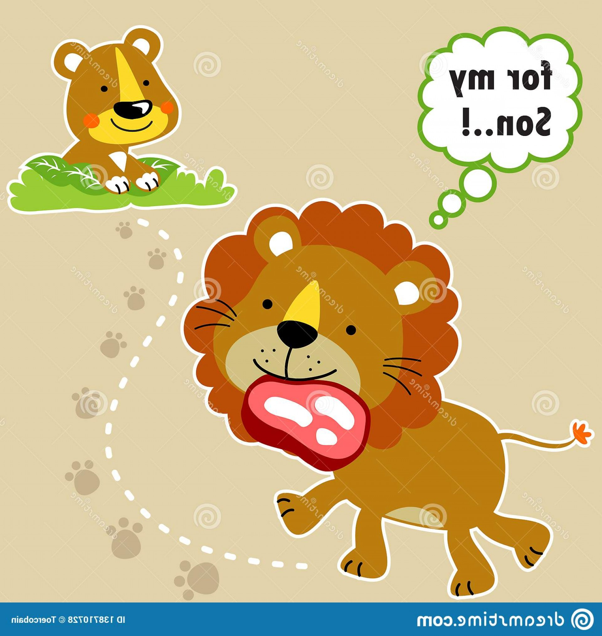 Vector No Wildlife: Lion Family Cartoon Zoo Vector Illustration No Mesh Eps Wildlife Animals Fresh Meat Image