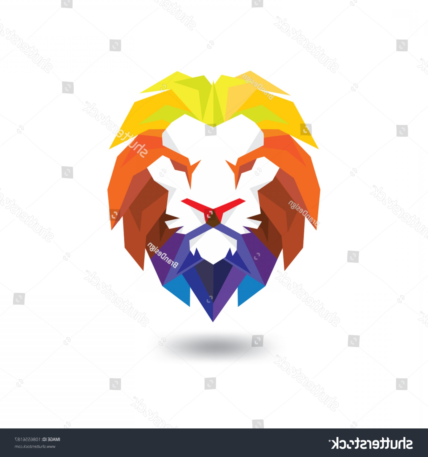 Blue Tigers Lincoln Logo Vector Image: Lion Head Full Color Logo Vector