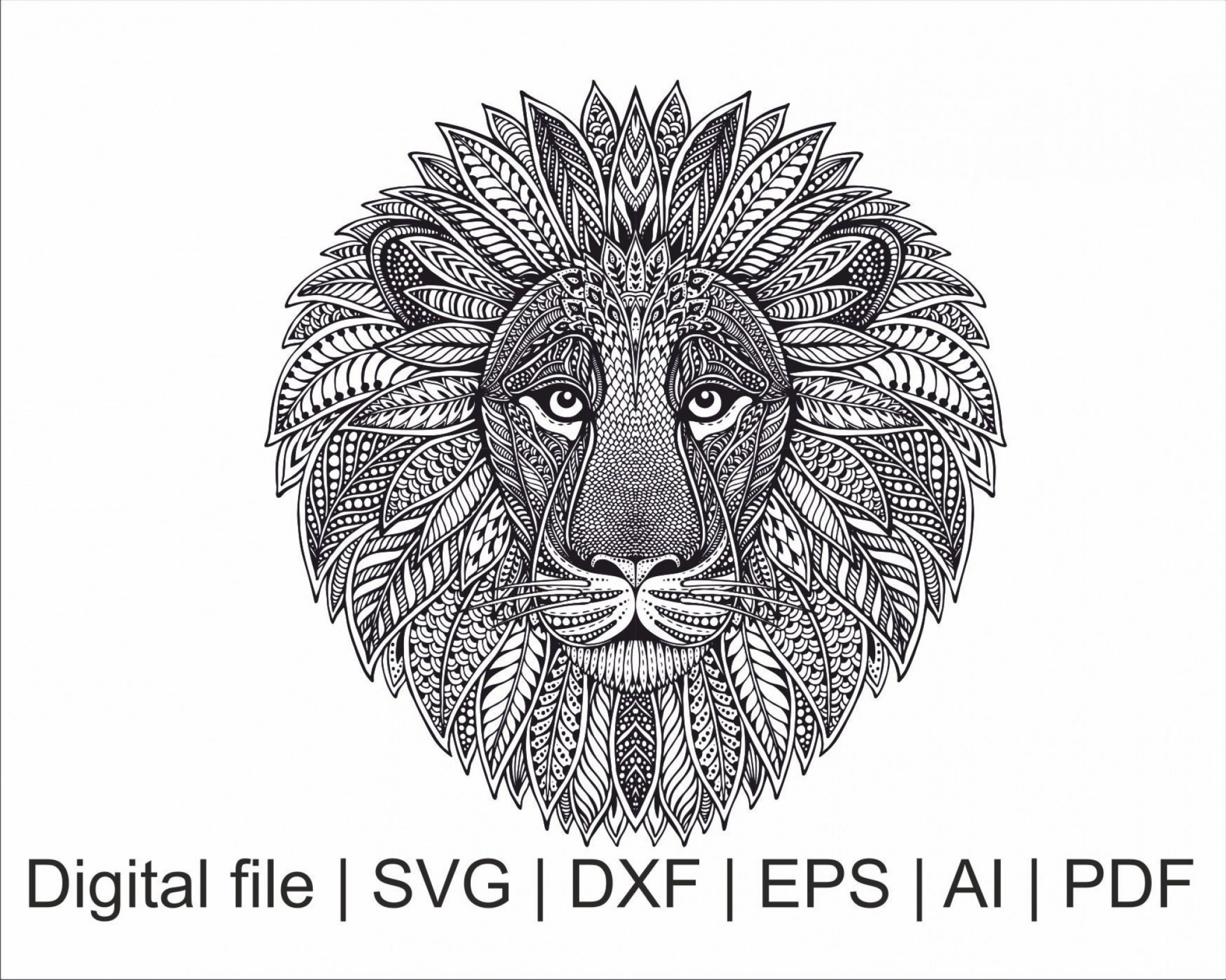 Wrought Iron Vector For CNC: Lion Svg Lion Zentangle Mandala Svg