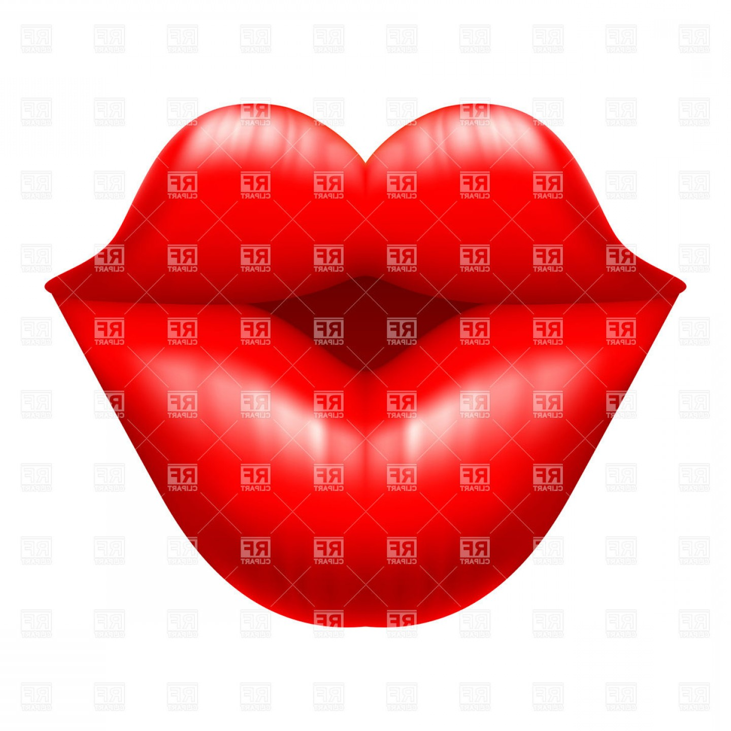 Kiss Clip Art Vector: Lips Charming Kiss Vector Clipart