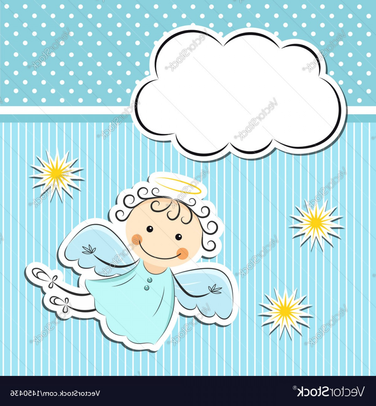 Little Angel Vector: Little Angel With Stars And Cloud Vector
