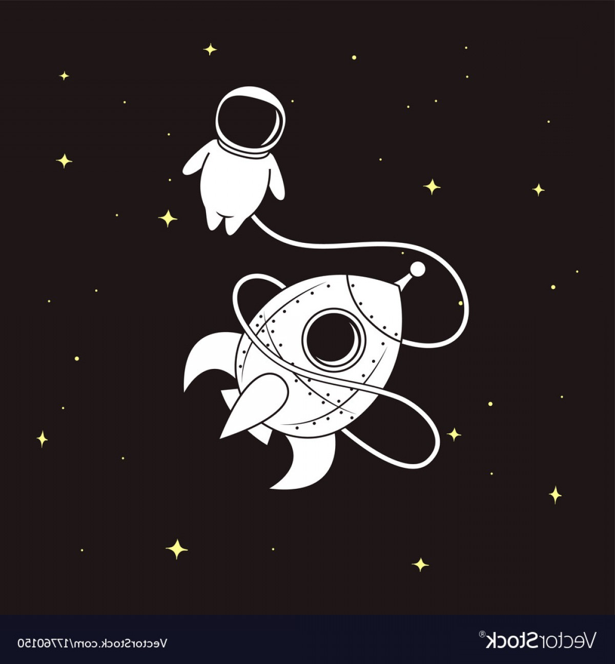 Space Vector Graphics: Little Astronaut With Rocket In Space Vector