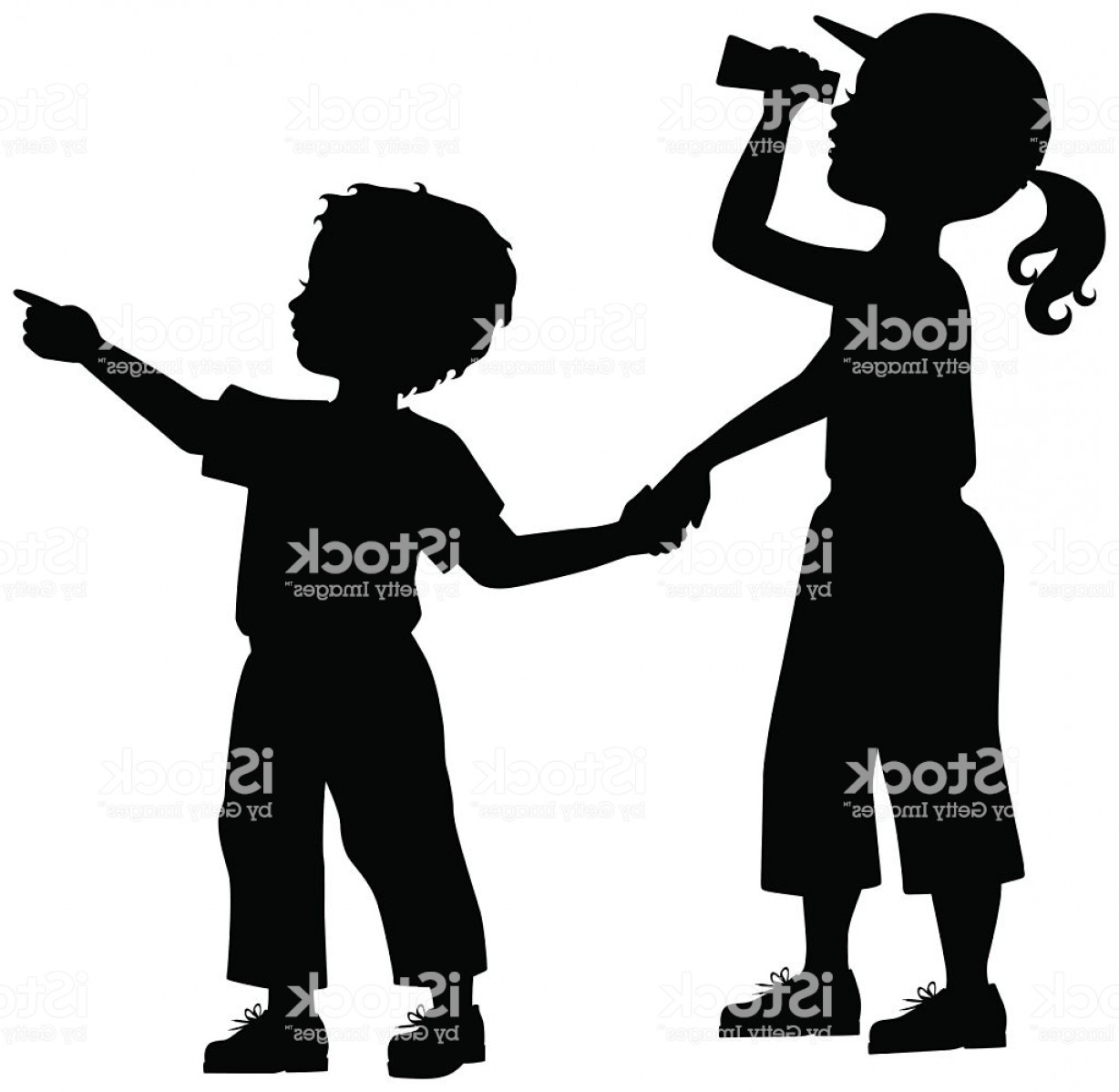 Little Boy Silhouette Vector: Little Boy And Girl With Binoculars Gm