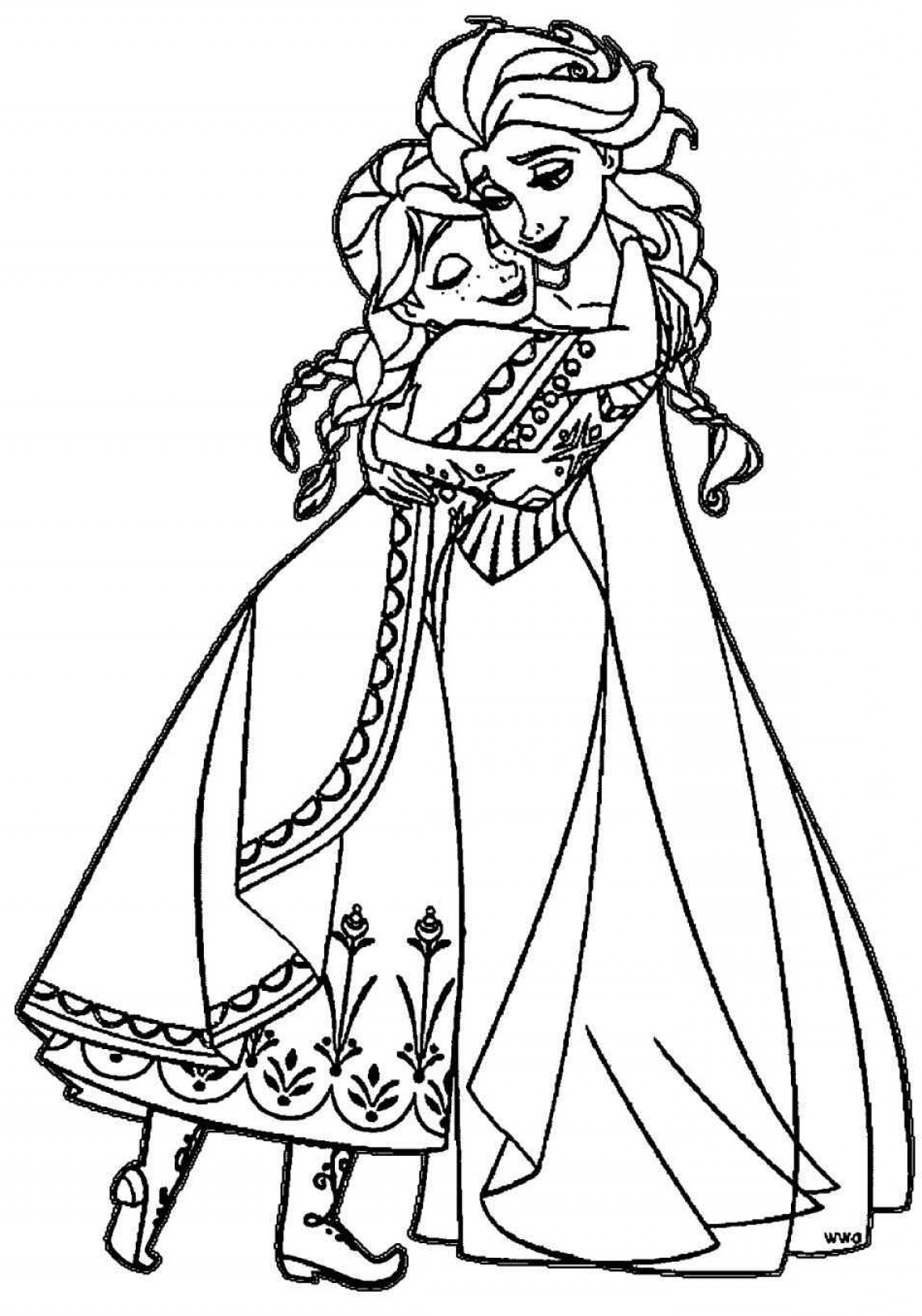 Anna And Elsa Vector: Little Elsa And Anna Coloring Pages