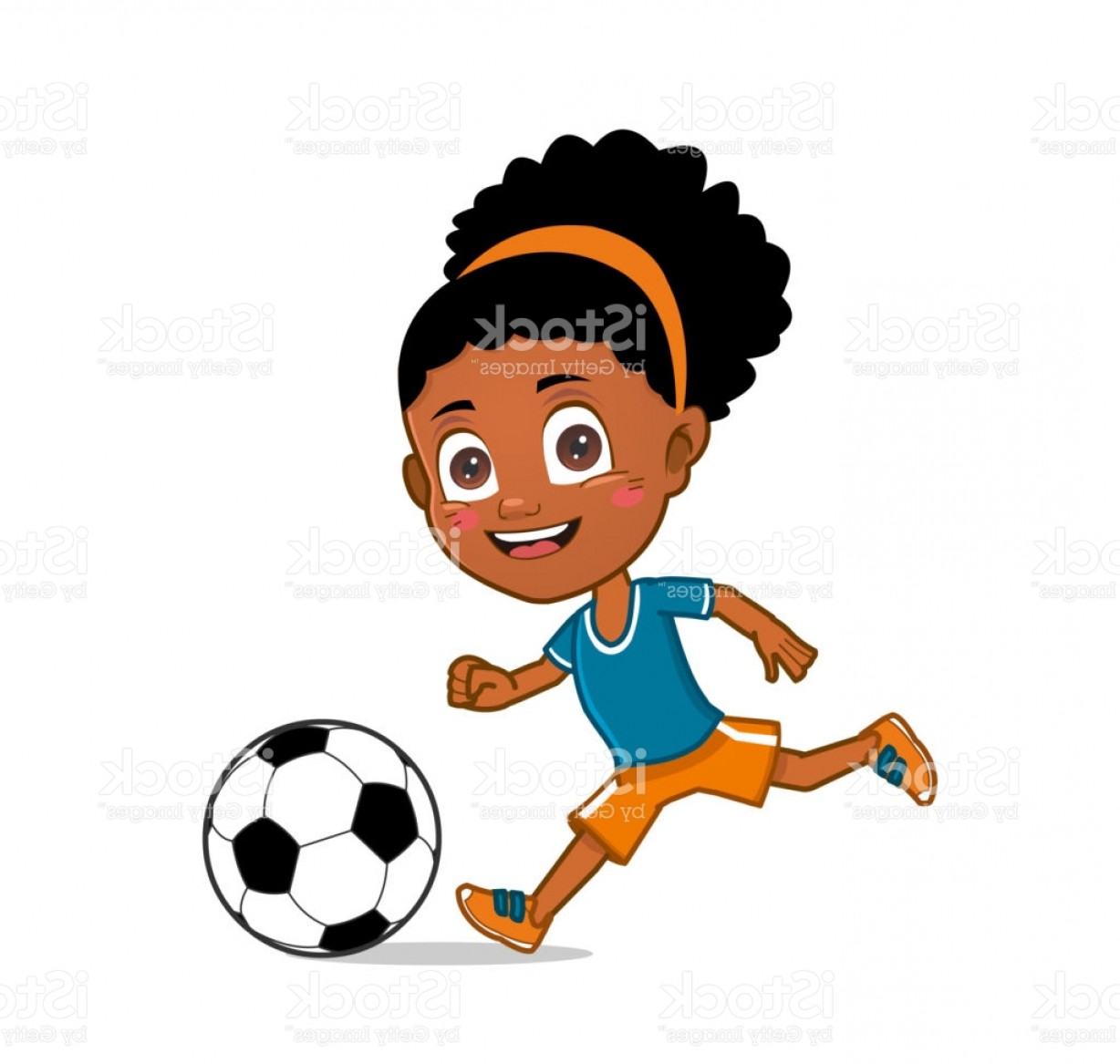 Vector Football Girl: Little Girl Playing Soccer Gm