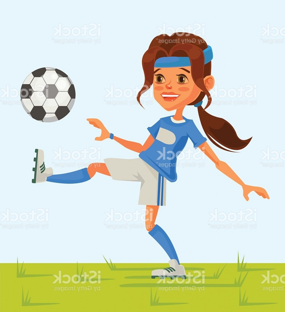 Vector Football Girl: Little Girl Soccer Character Play Football Gm
