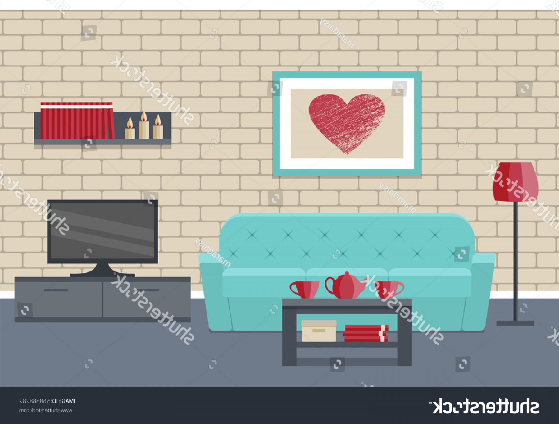 Vector Background For Living Room: Living Room Interior Flat Vector Background