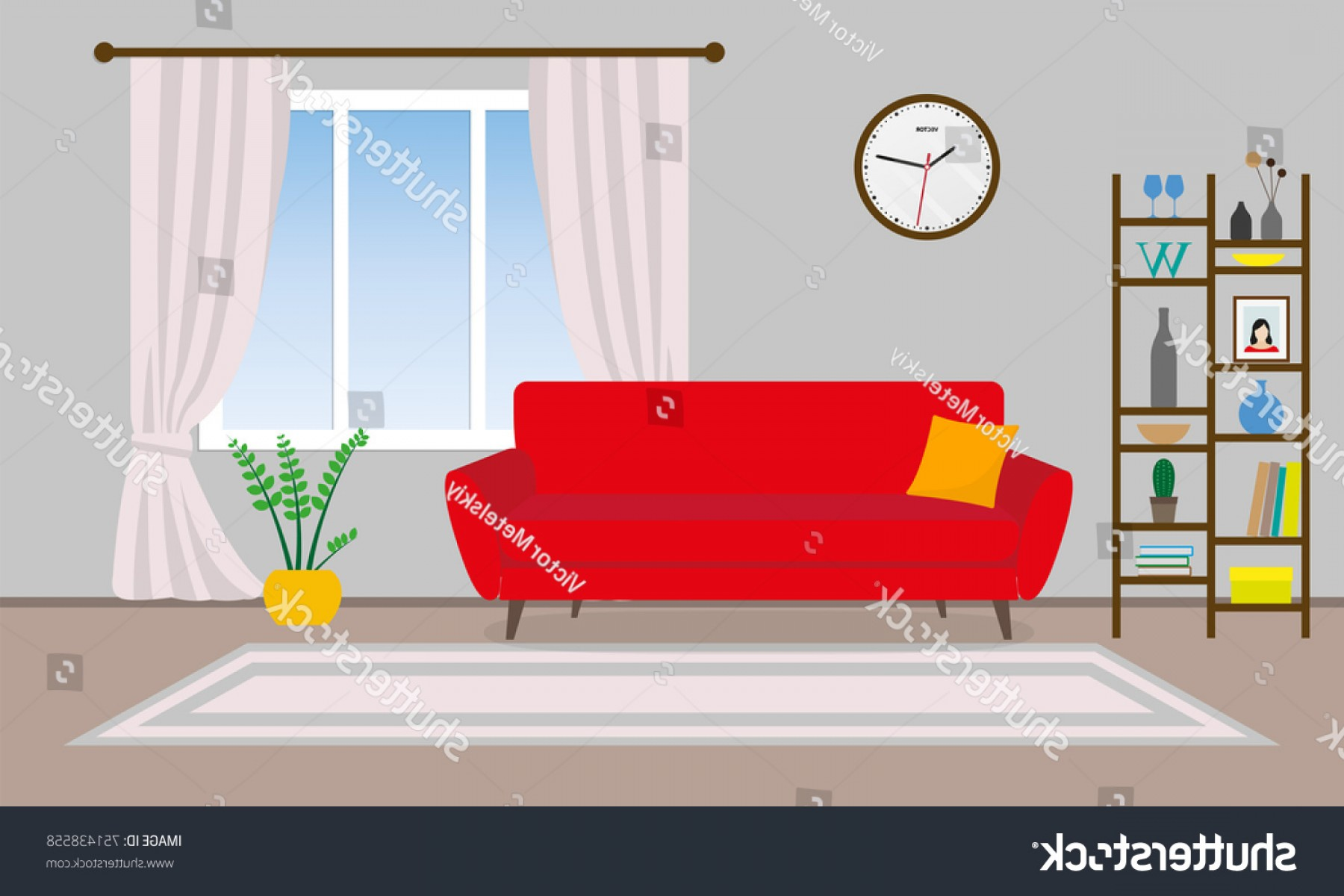 Vector Background For Living Room: Living Room Interior Vector Background Sofa