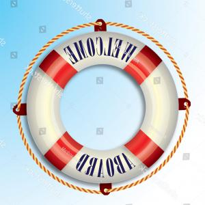 Old Lifesaver Stripe Vectors: Life Buoy Welcome Aboard Text