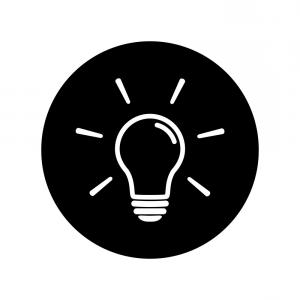 Lighting Black Background Vector: Light Bulb Icon On Black Background Vector