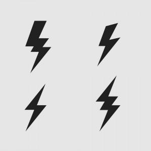 Black Lightning Bolt Vector: Lightning Bolt Flat Icons Set Vector