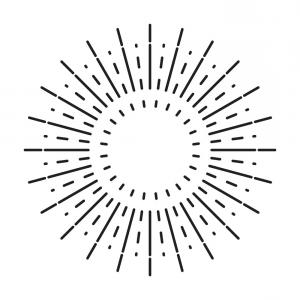 Vector Circle Rays: Linear Drawing Of Vintage Sunbursts Or Light Rays Vector