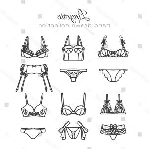 Vector Bra Outline: Lingerie Set Vector Underwear Design Outline