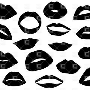 Vector Female Lips: Photovector Lips And Mouth Silhouette And Glossy Open And Close Up Man And Woman Face Parts