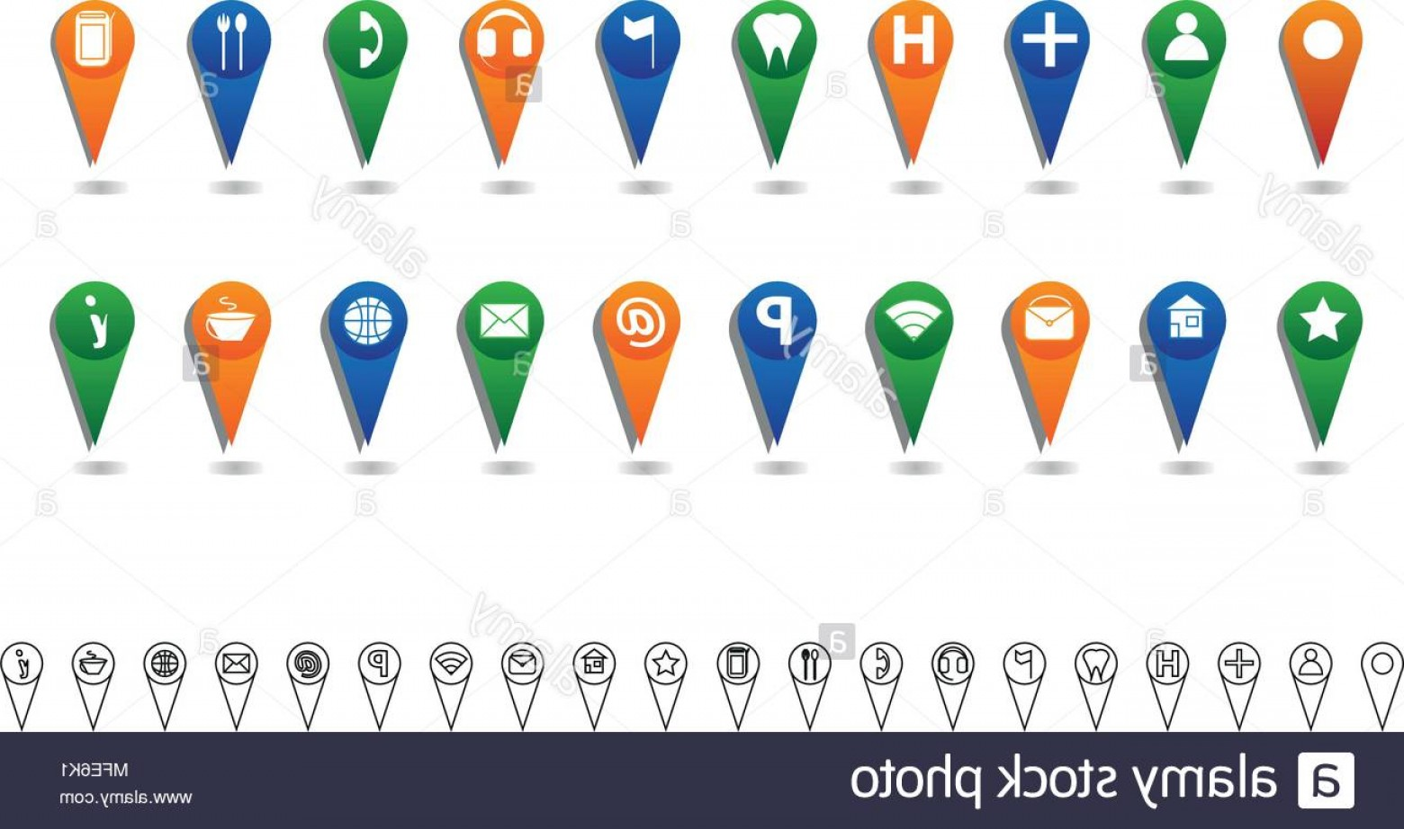 Small Email Icon Vector: Location Icon Set With Big Colored And Small Black Line Icons Image