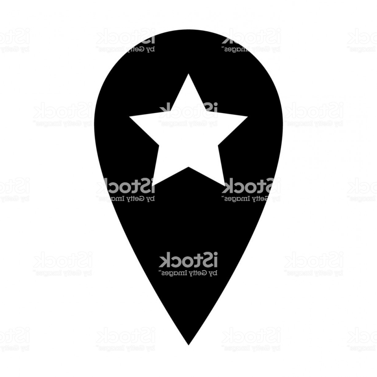 Navigation Vector: Location Pin With Star Solid Icon Navigation Vector Illustration Isolated On White Gm