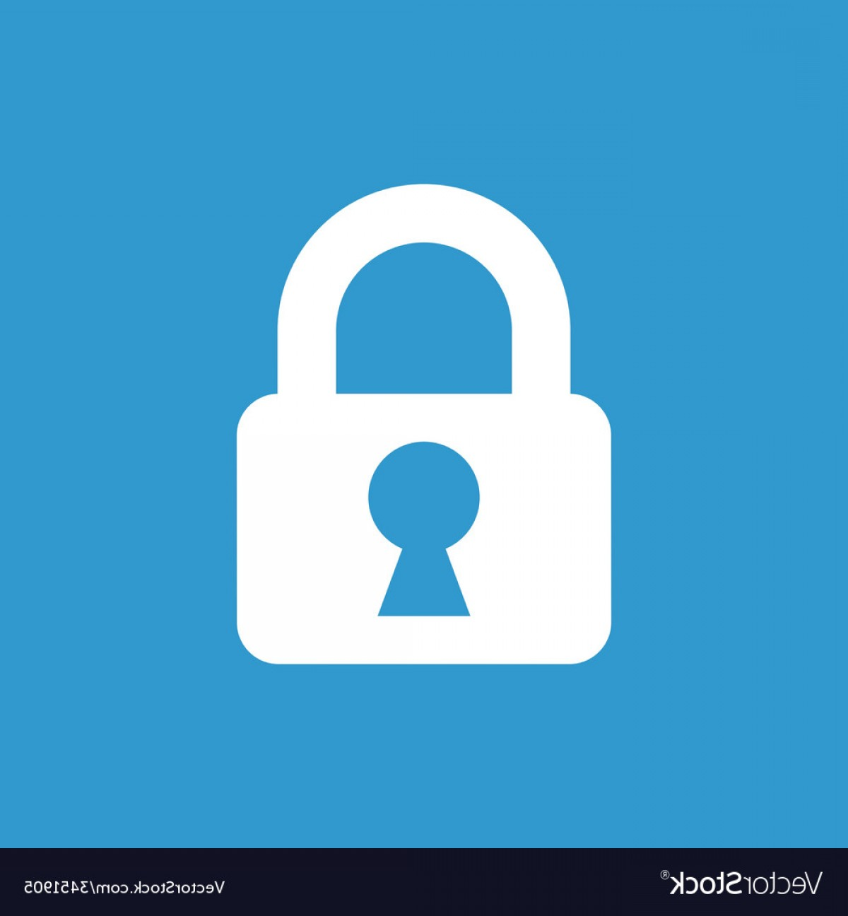 Vector Lock White: Lock Icon White On The Blue Background Vector