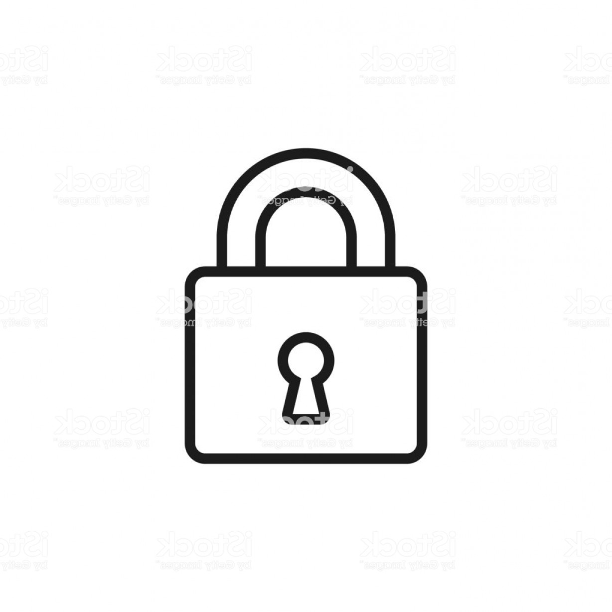 Vector Lock White: Lock Line Icon Outline Vector Illustration Line Symbol Isolated On White Gm