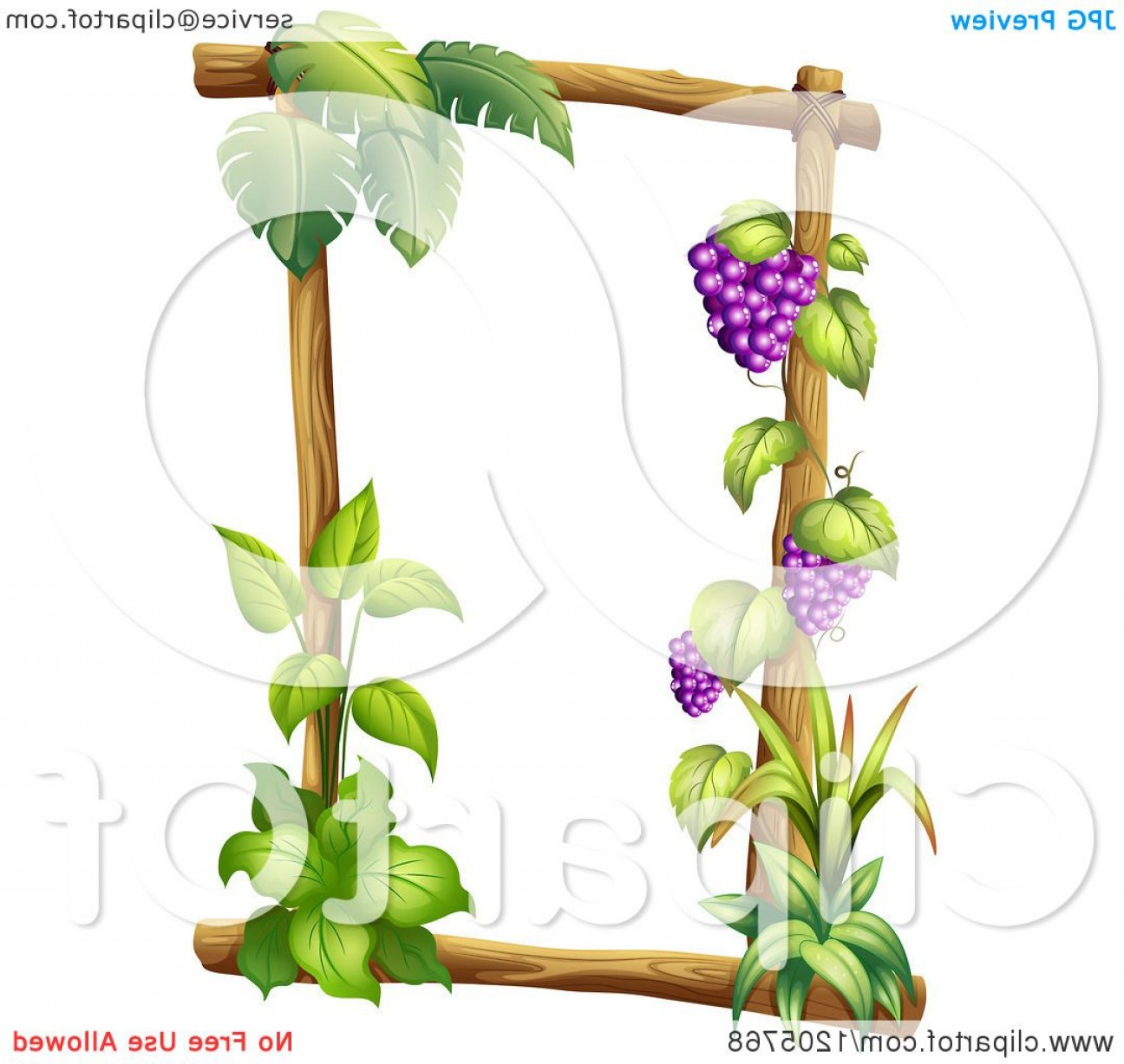 Grapes Clip Art Vector: Log Frame With Green Plants And Grapes