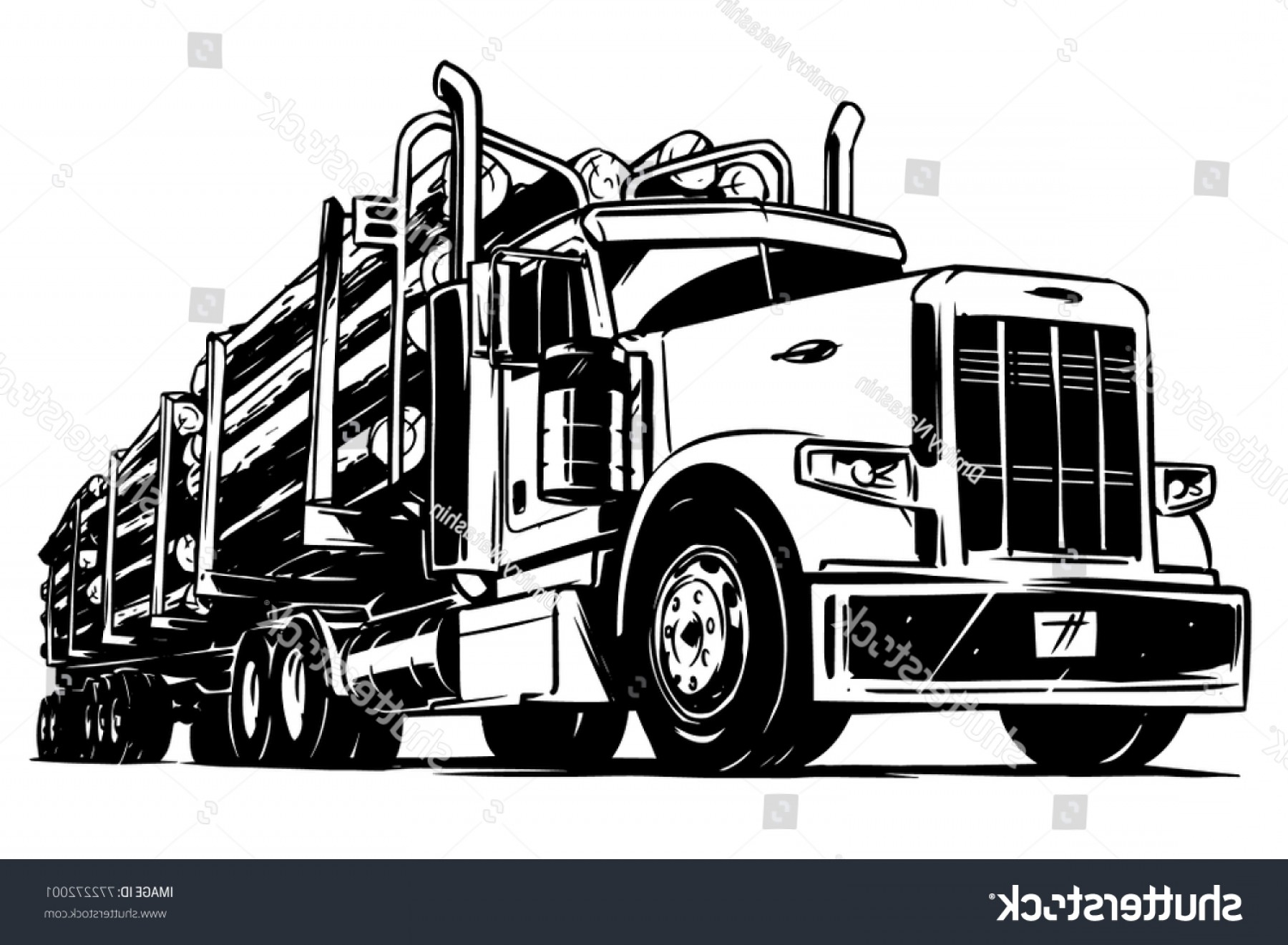 Vector Vacuum Trailer: Logging Truck Black White Illustration
