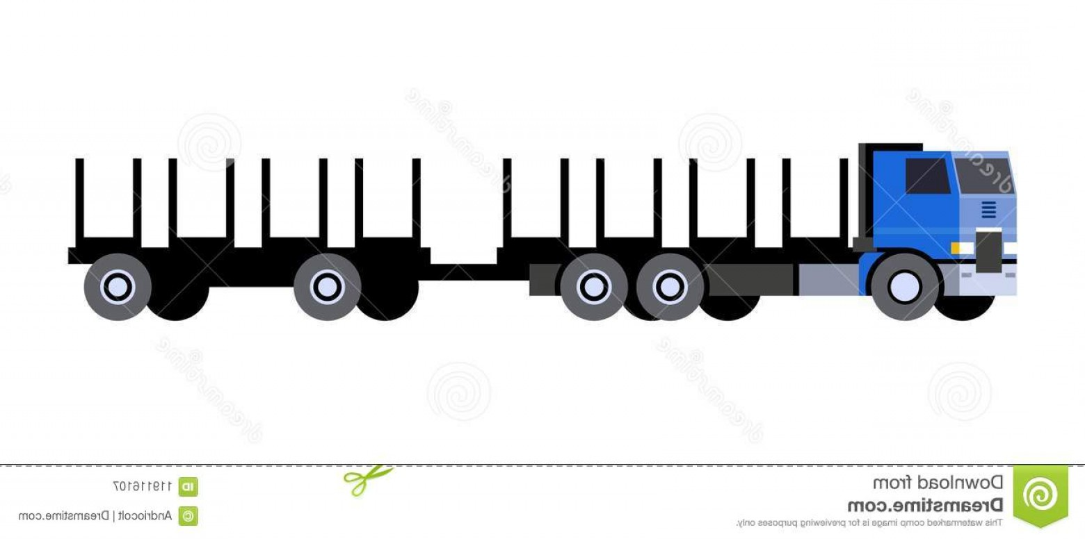 Vector Truck And Trailer Hauling: Logging Truck Trailer Cart Minimalistic Icon Logging Truck Front Side View Timber Vehicle Trailer Cart Modern Vector Image