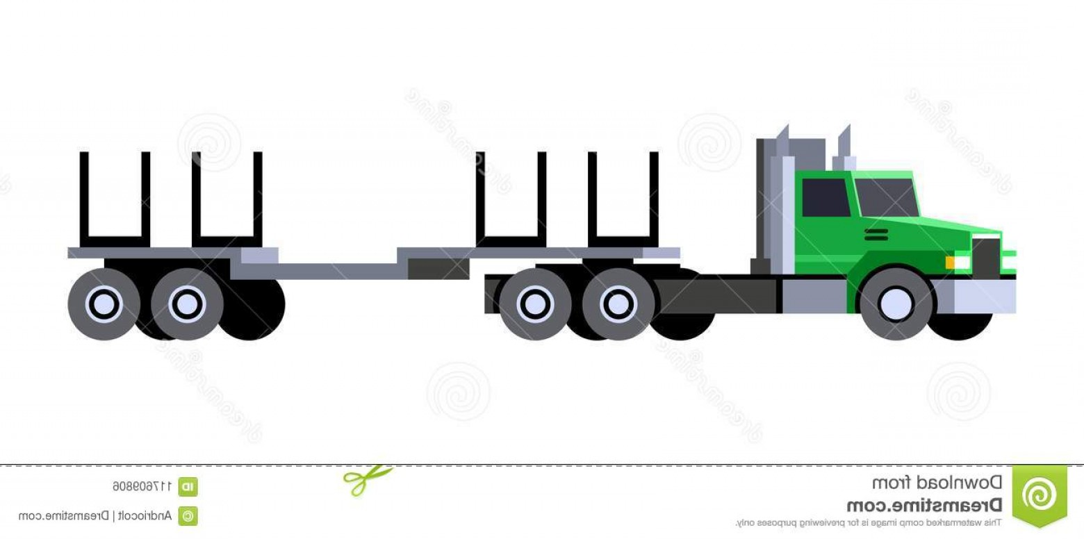 Vector Truck And Trailer Hauling: Logging Truck Trailer Minimalistic Icon Front Side View Tractor Vehicle Vector Isolated Illustration Image