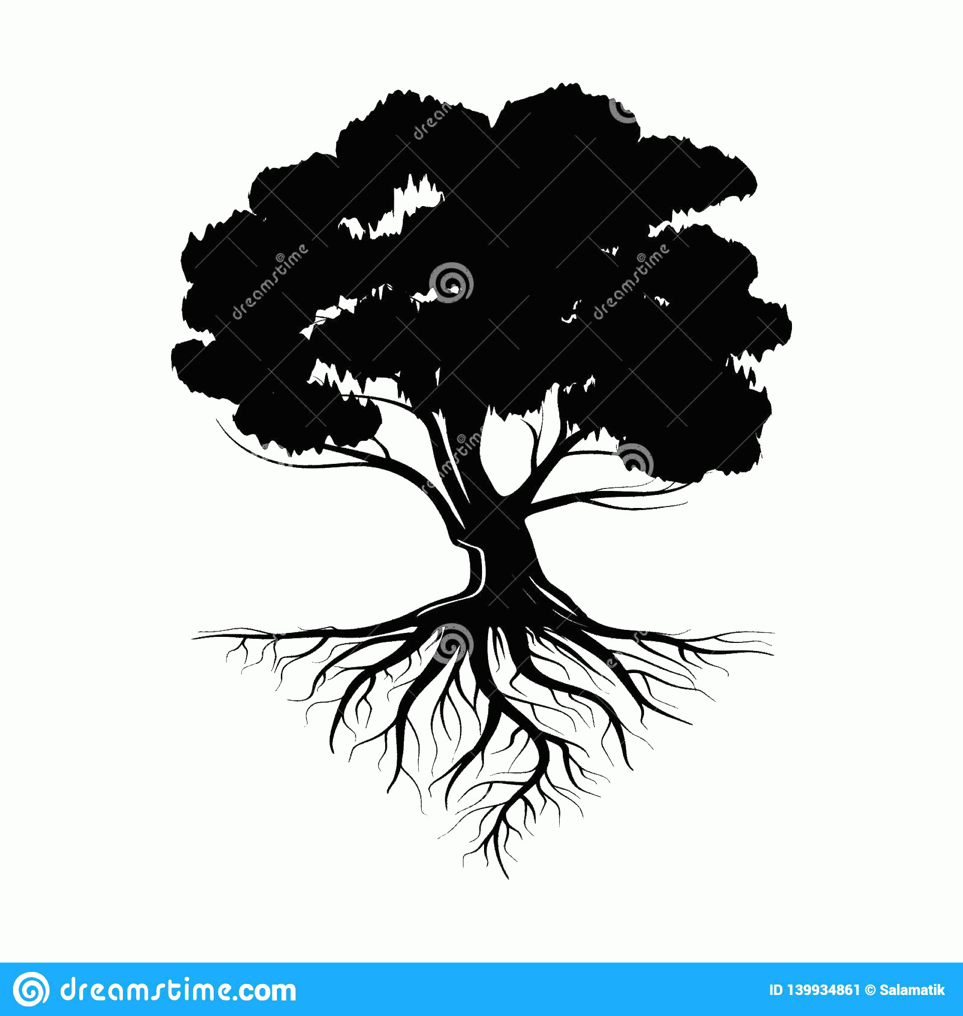 Vector Tree With Roots Drawing: Logo Black Tree Roots Leaves Vector Illustration Icon Isolated White Background Logo Black Life Tree Image