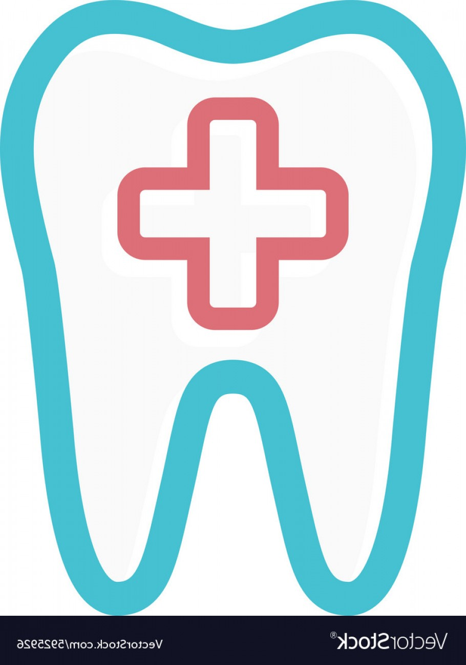 Tooth Vector Logo: Logo Combination Of Medical Cross And Tooth Vector