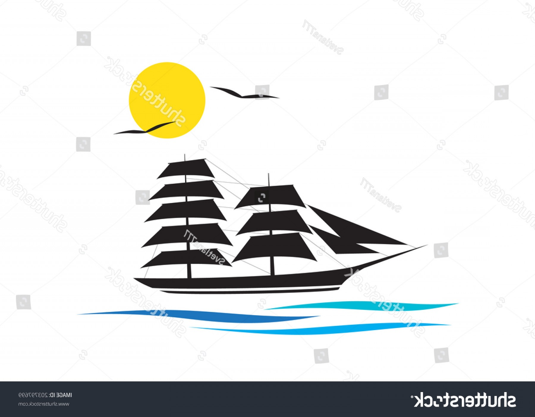 Waves With Cruise Ship Silhouette Vector: Logo Cruise Ship On Waves Couple