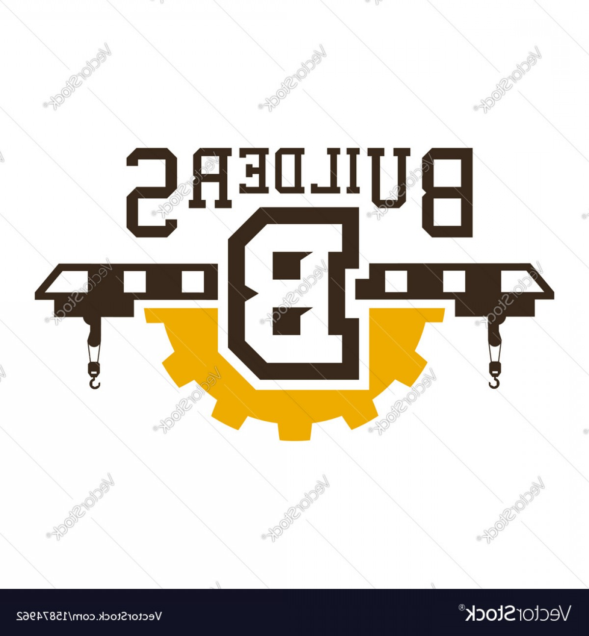 Gear Vector Icons Large: Logo Of Construction Cranes Large Gear Vector