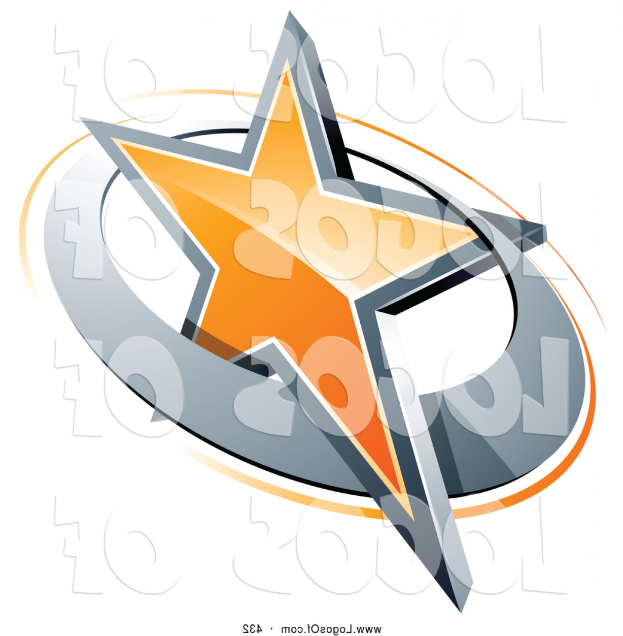 Art Space Logo Vector: Logo Vector Of A D Orange Star In A Chrome Circle Above Space For A Business Name And Company Slogan By Beboy
