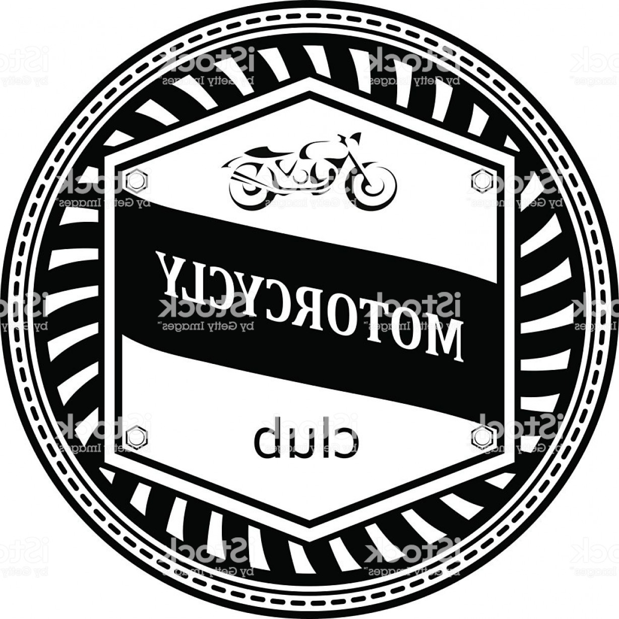 Motorcycle Club Vector: Logo With A Motorcycle Badge Design Transport Motorcycle Club Gm