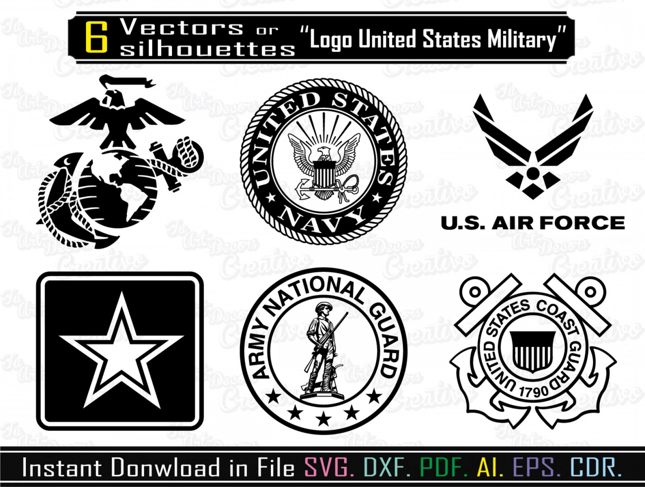 USMC Marine Corps Logo Vector: Logos Armed Force Svg Naval Guard Svg File Dxf Vector Marine Corps Air Force