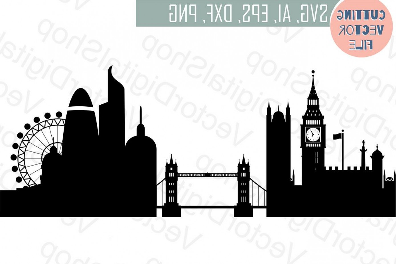 UK Skyline Vector: London Skyline Vector England City Svg Jpg Png Dwg Cdr Eps Ai