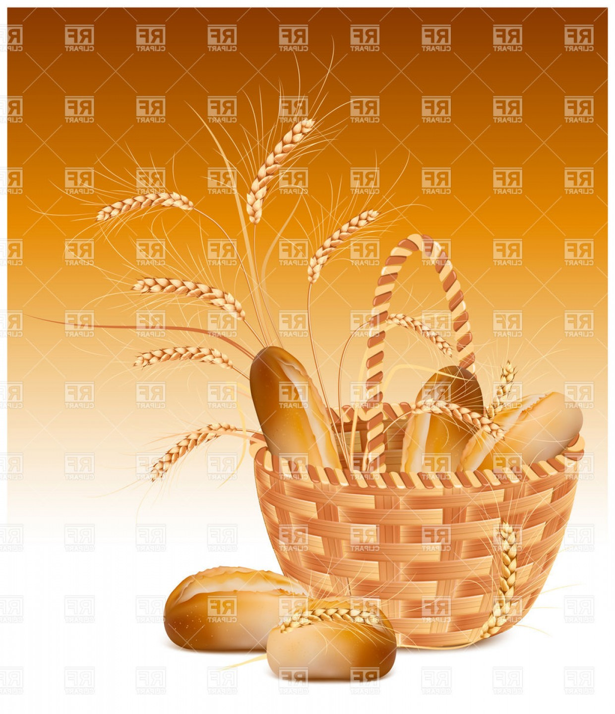 Bread Of Life Vector Art: Long Loaf Of Bread In Basket Vector Clipart
