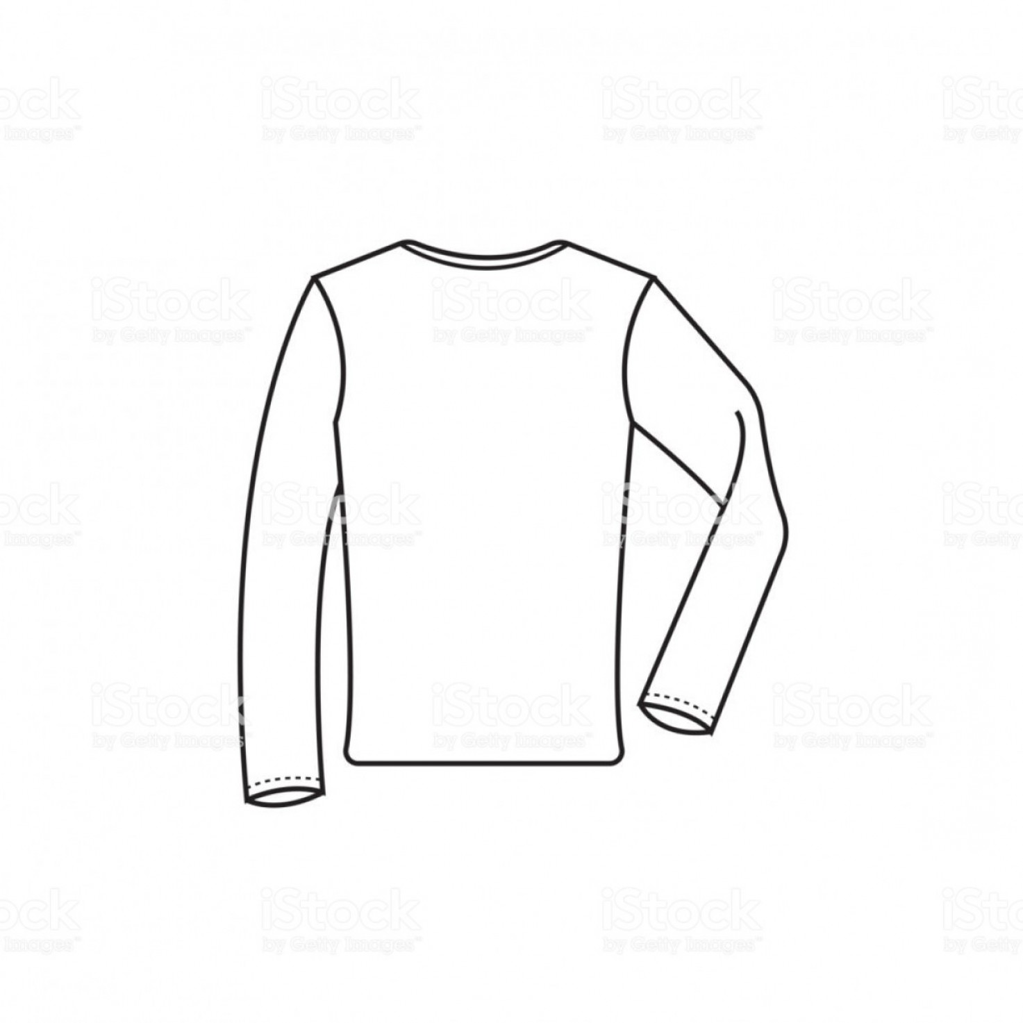 Long Sleeve Jersey Vector Template: Long Sleeve T Shirt Vector Drawing Gm
