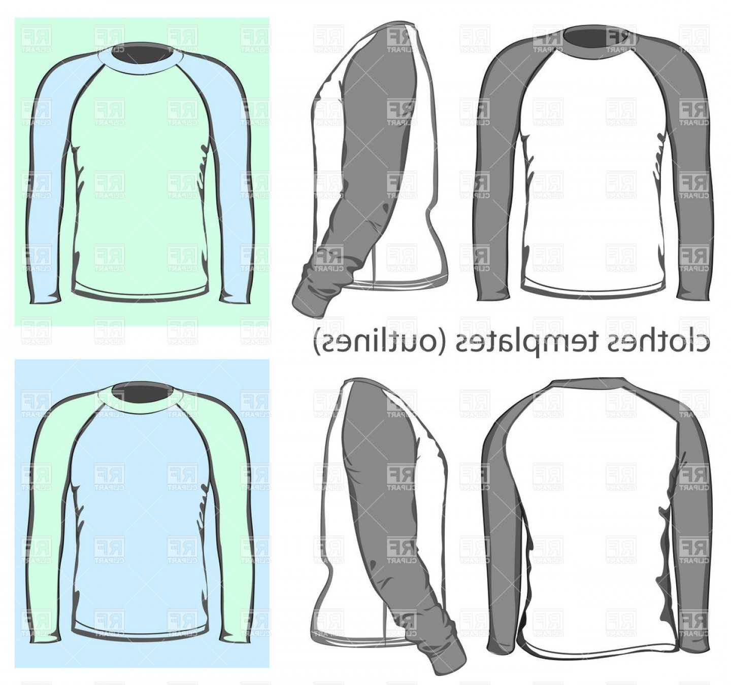 Long Sleeve Jersey Vector Template: Long Sleeved Raglan Mens T Shirt Design Template Vector Clipart