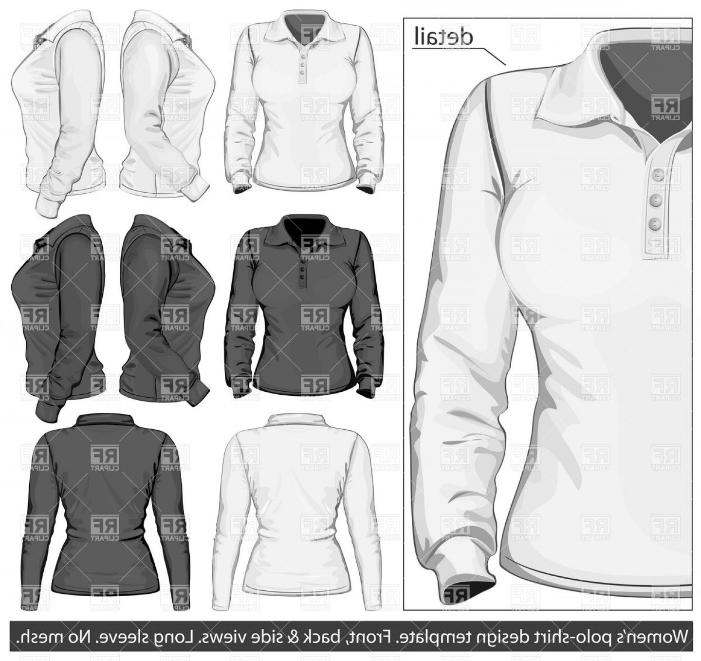 Female Polo Shirt Vector Template: Long Sleeved Womens Sweater Polo Shirt Template Vector Clipart