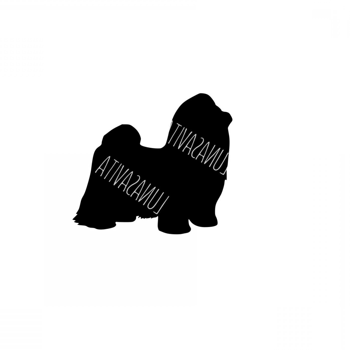 Shih Tzu Vector Siluete: Longhaired Shih Tzu Design Dog Svg Dxf