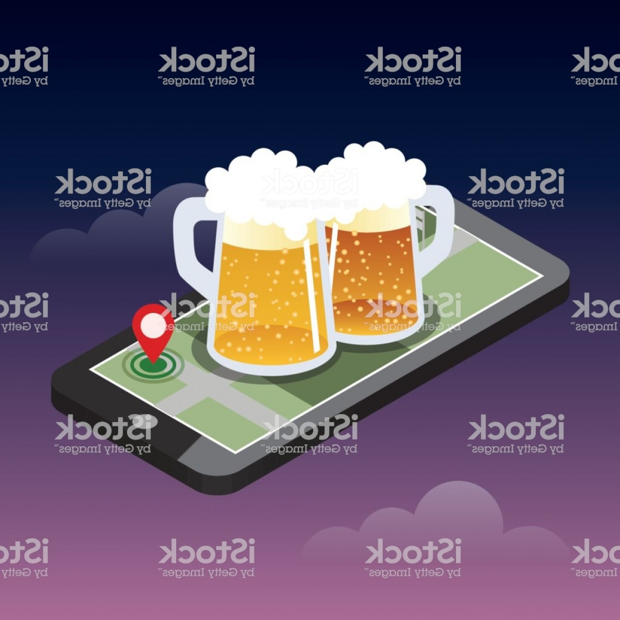 Geo-Tracking Vector: Looking For Bar Mobile Searching Isometric Mobile And Beer Geo Tracking Map Gm