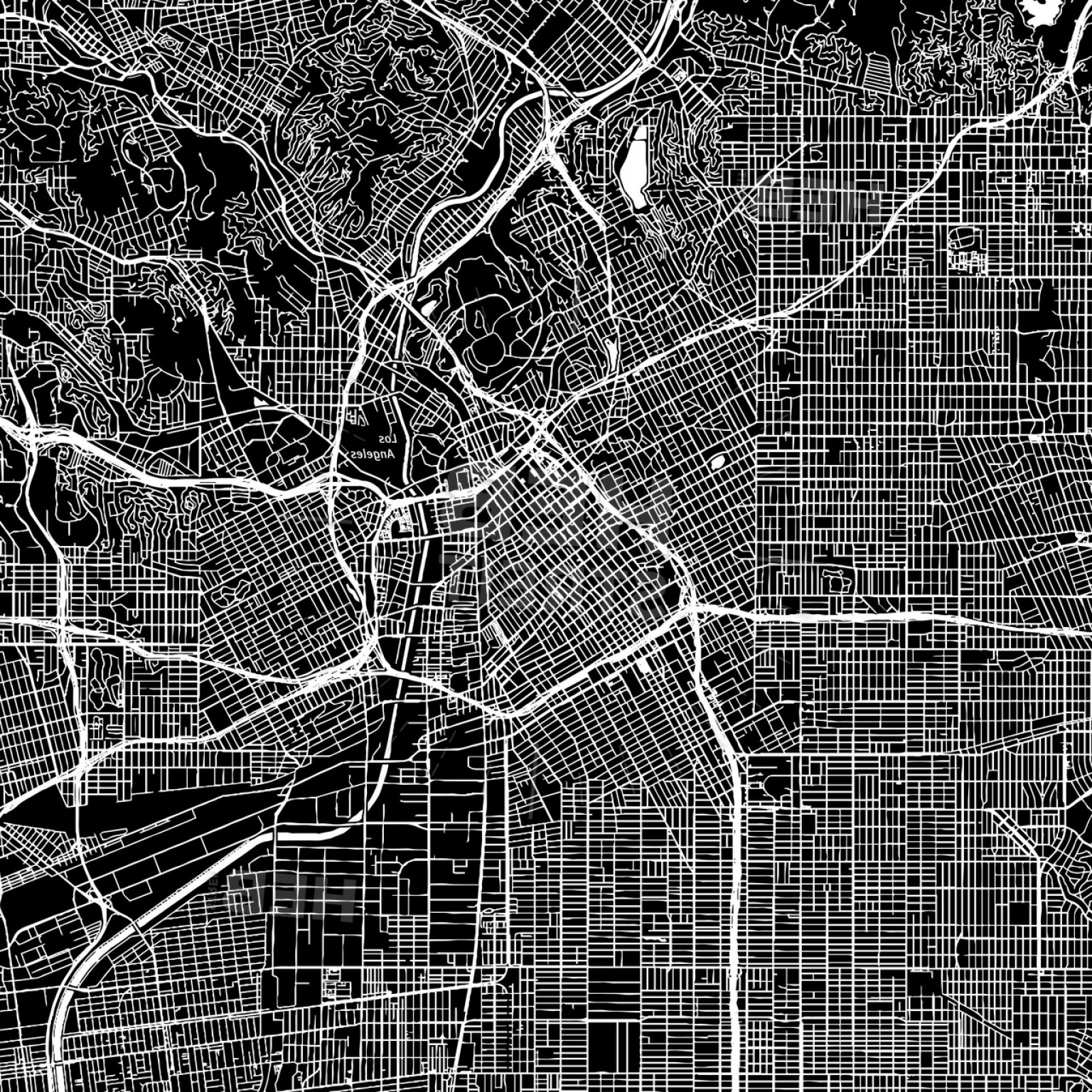 California Black And White Vector: Los Angeles California Downtown Vector Map
