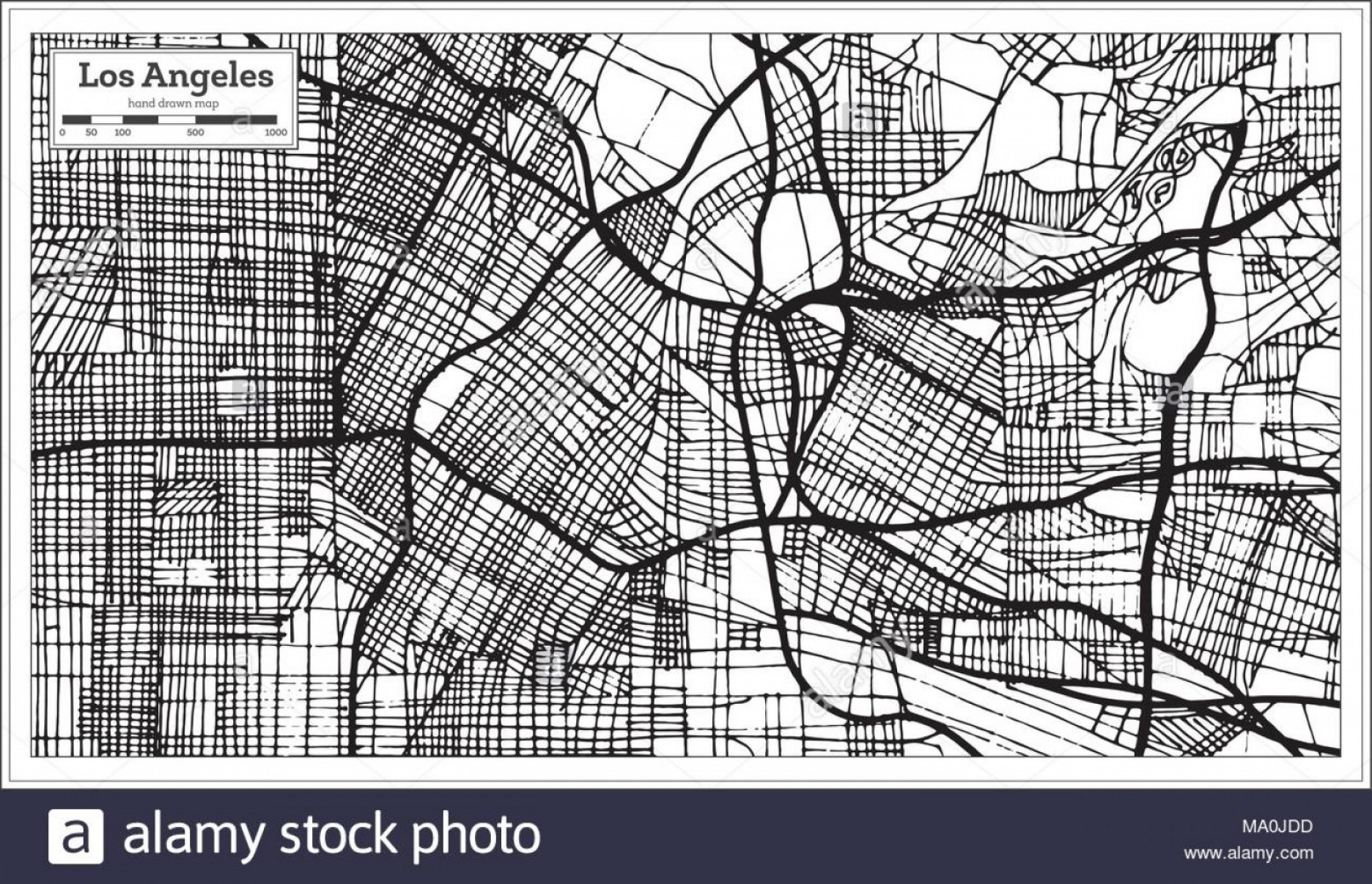 California Black And White Vector: Los Angeles California Usa City Map In Retro Style Black And White Color Outline Map Vector Illustration Image