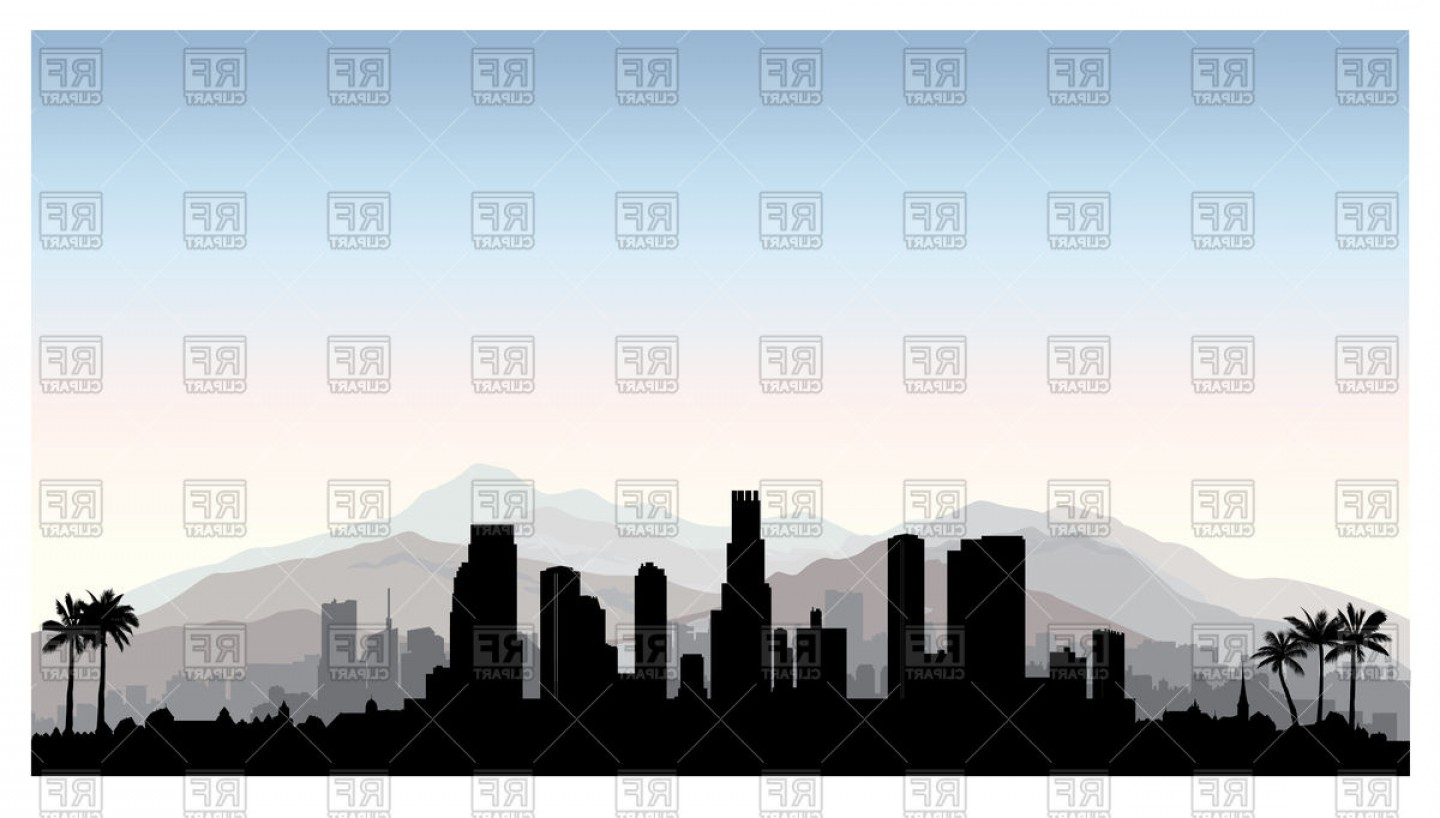 Hollywood Skyline Silhouette Vector: Los Angeles Silhouette City With Skyscraper Buildings Vector Clipart