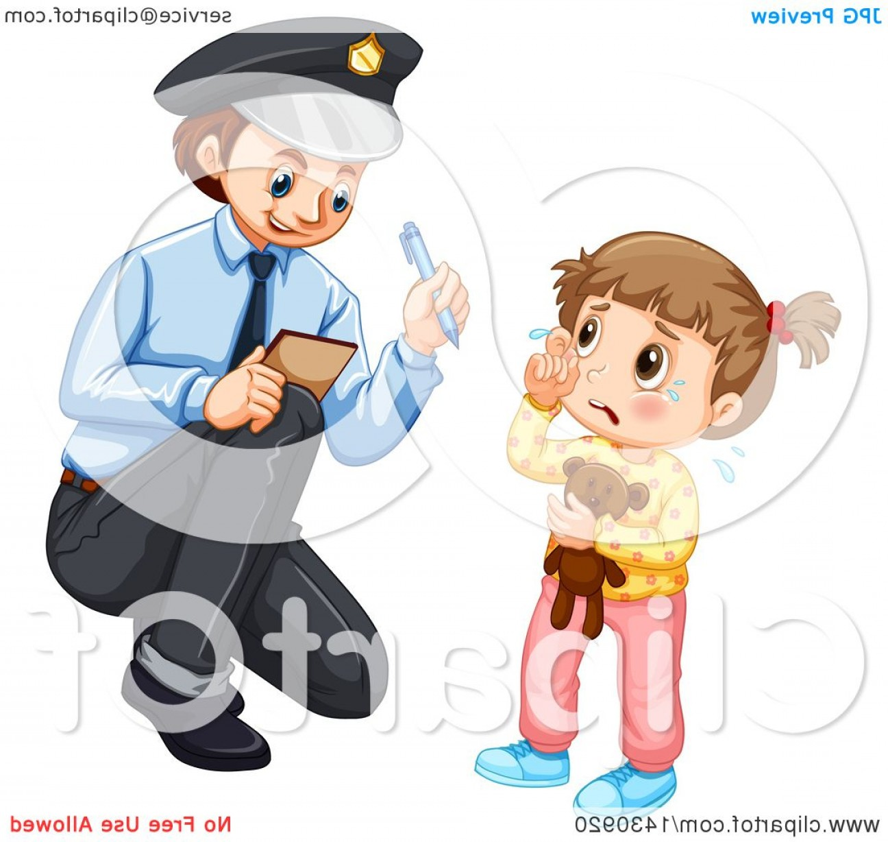 Vector Police Officer Kneeling: Lost Girl Crying And Talking To A Police Officer