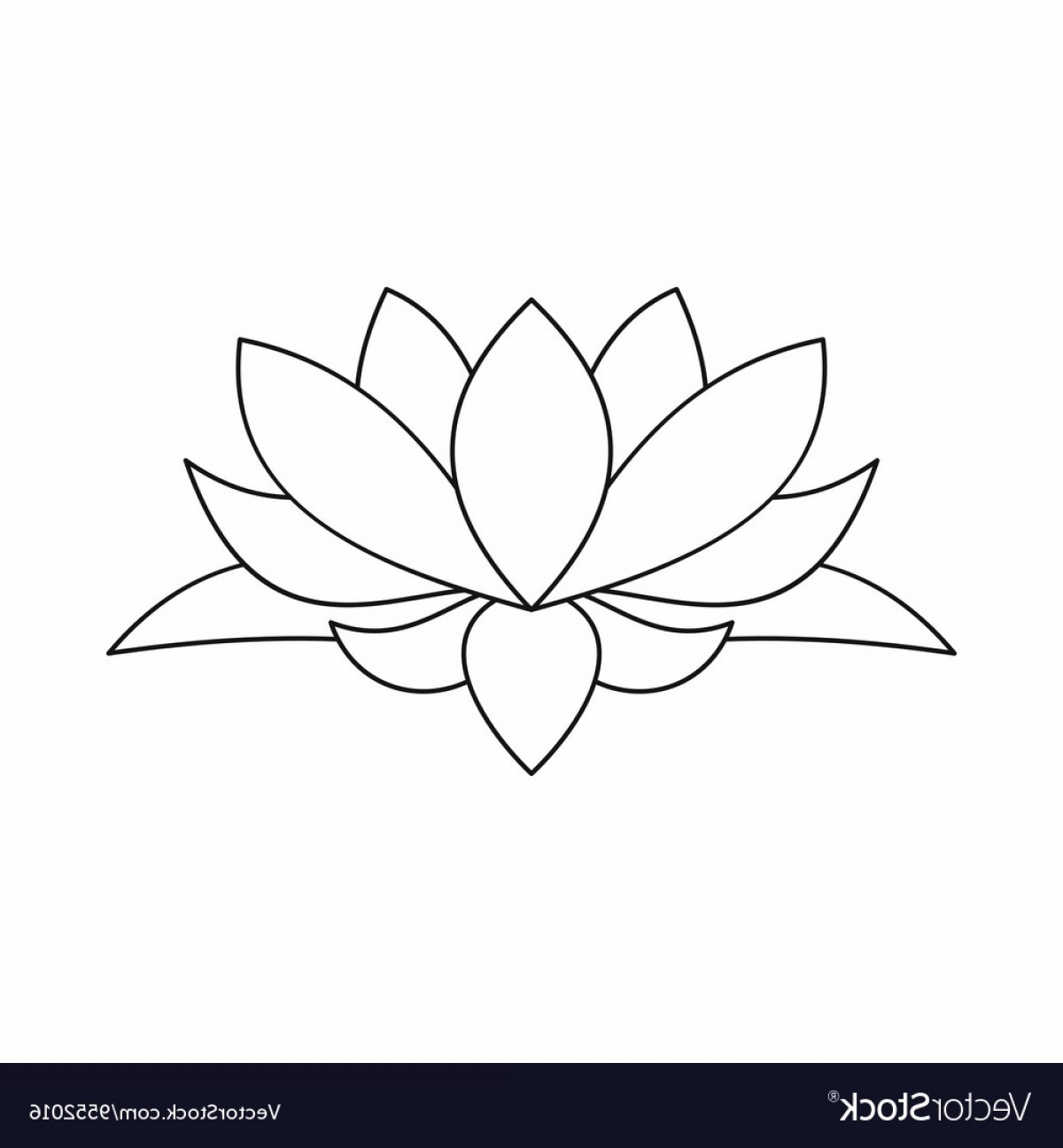 Icon Of Flower Vectors: Lotus Flower Icon Outline Style Vector