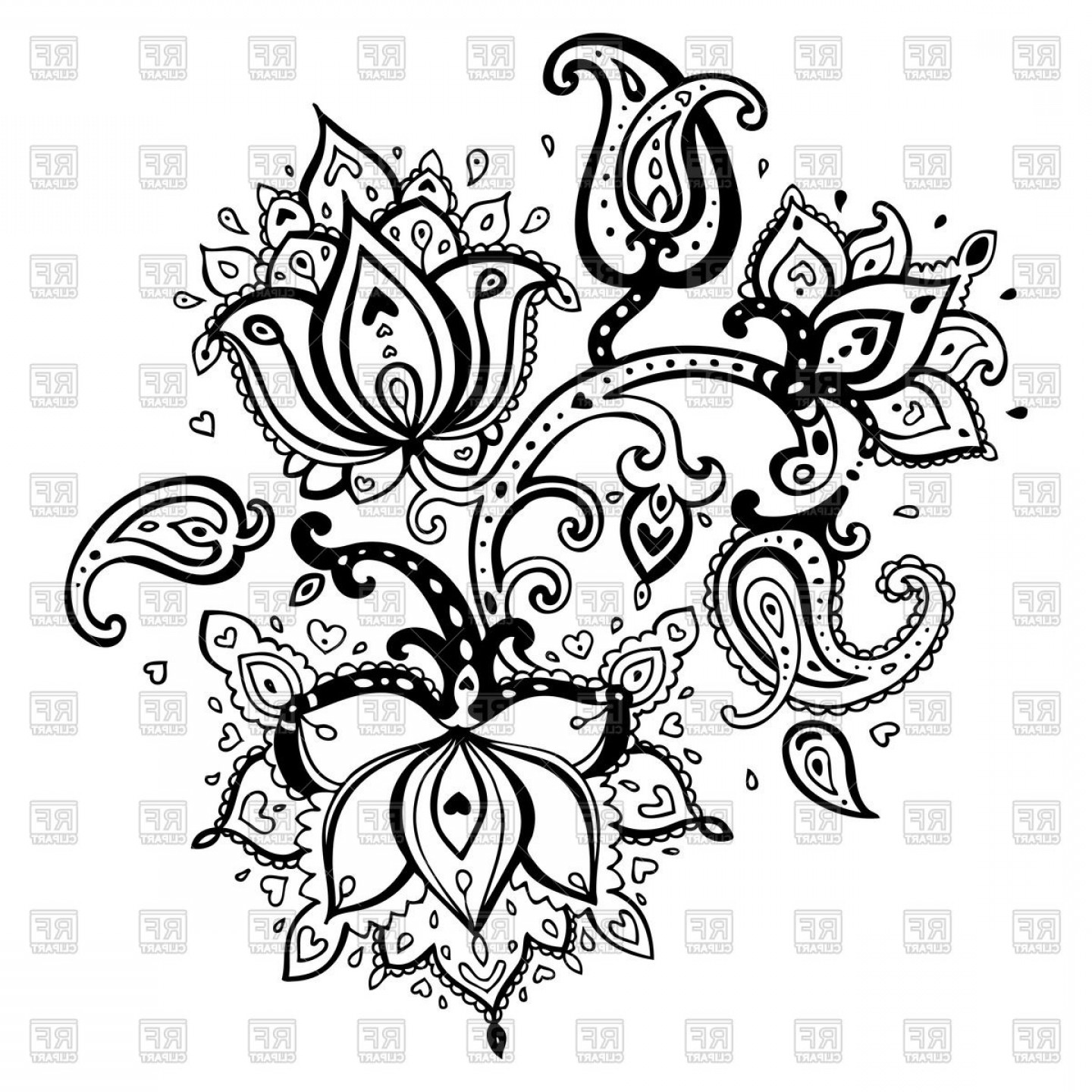 Paisley Swirl Flower Vector: Lotus Flower Of Paisley Ornament Vector Clipart