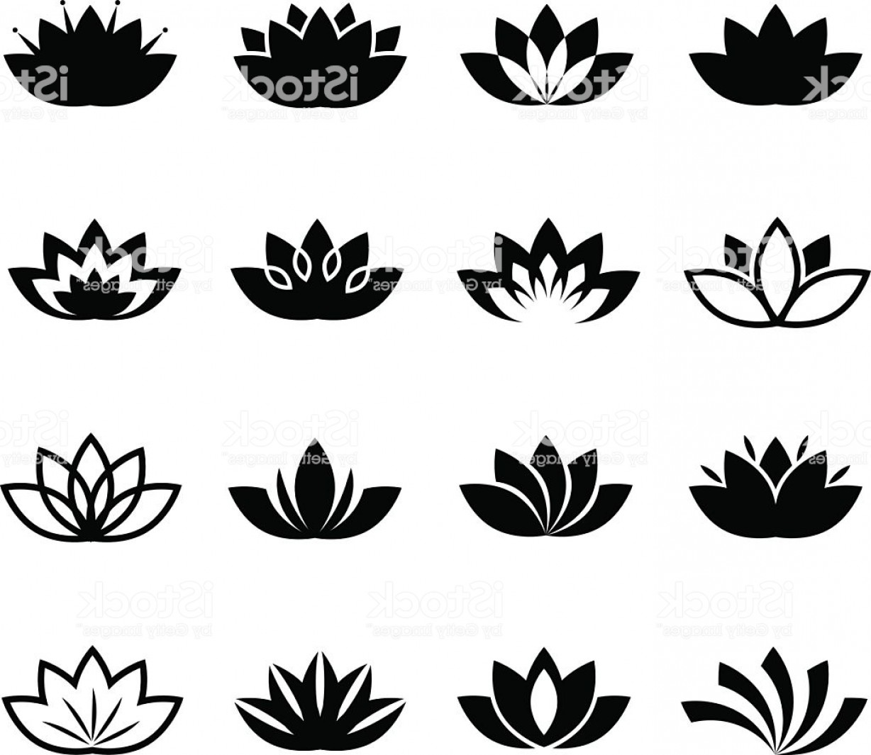 Icon Of Flower Vectors: Lotus Flower Vector Icons Set Gm