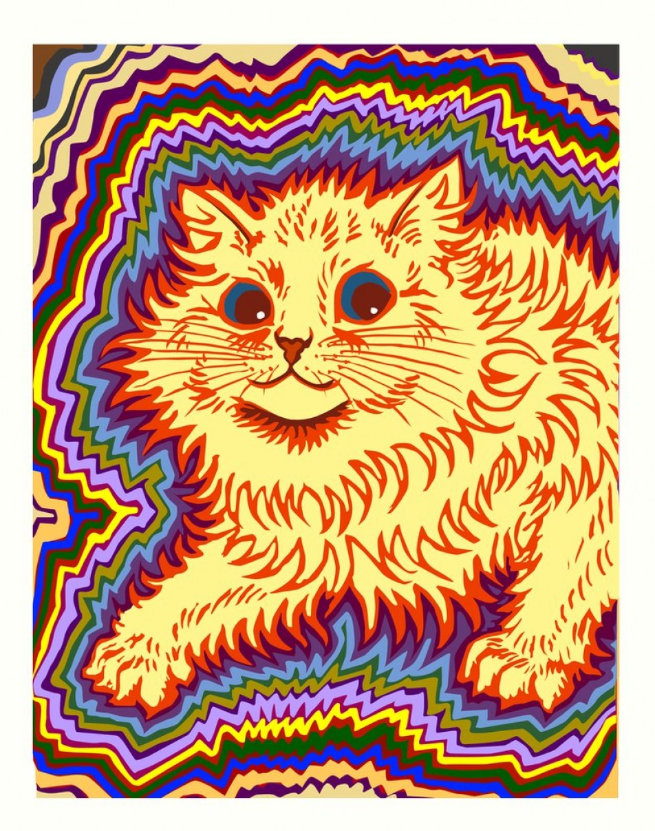 Vector Cats 3: Louis Wain Tribute Kaleidoscope Cat Electric
